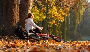 iStock photo 18306305 Woman Cyclist Relaxing